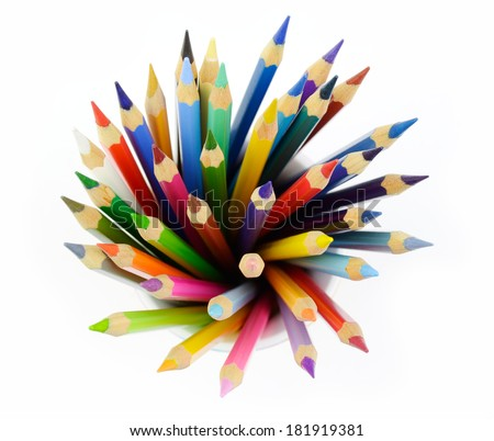 A bunch of colored pencils - stock photo