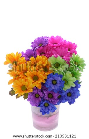 A Bunch of Colourful Flowers in a Vase Isolated on a White Background. - stock photo