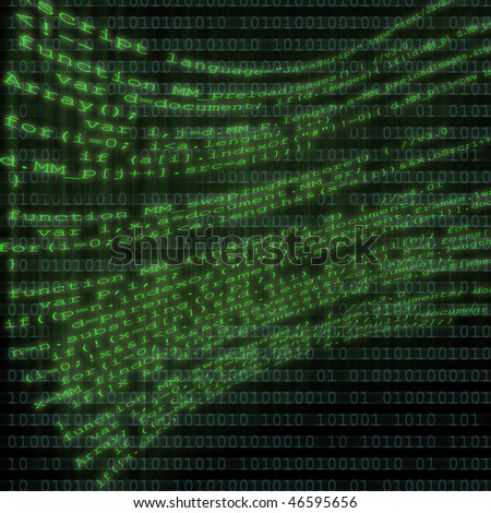 A bunch of computer html code flying on top of a binary computer code background. - stock photo