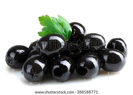a bunch of delicious and healthy olives pitted with green leaf isolated on white background - stock photo