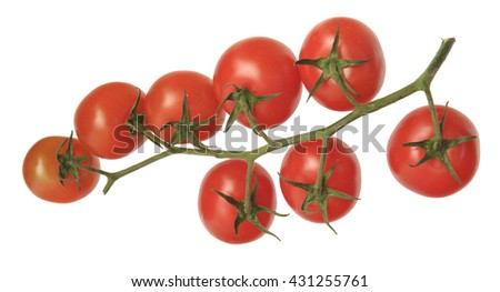 A BUNCH OF EIGHT CHERRY TOMATOES ISOLATED ON WHITE BACKGROUND - stock photo