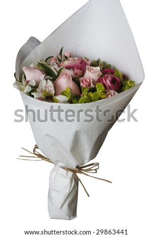 A bunch of flowers, isolated against a white background. - stock photo