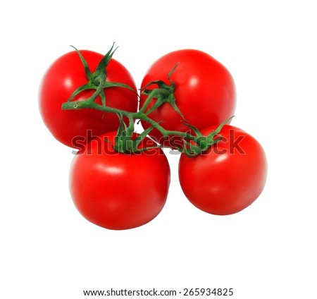 A bunch of four tomatoes isolated on white background front view - stock photo