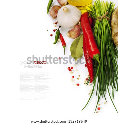 A bunch of fresh chives and vegetables over white (with easy removable text) - stock photo