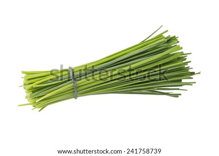 A Bunch of Fresh Chives Isolated on a White Background  - stock photo