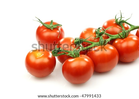 a bunch of fresh red tomatoes on the vine on a white background