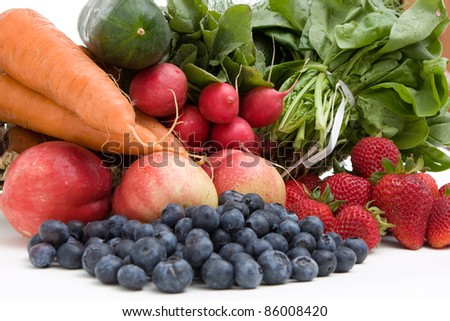 A bunch of fruits and vegetables - stock photo