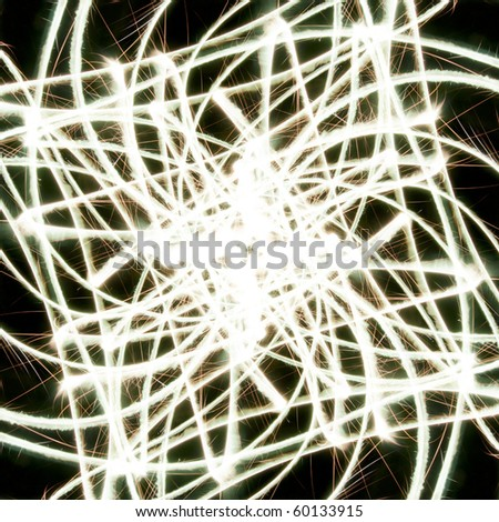 A bunch of glowing abstract sparkler background image with copyspace on each side. - stock photo