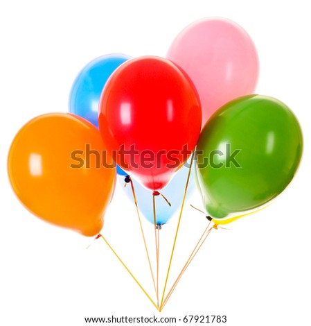 a bunch of happy flying balls isolated on white - stock photo