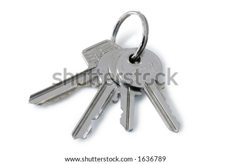A bunch of keys (with drop shadow) - stock photo