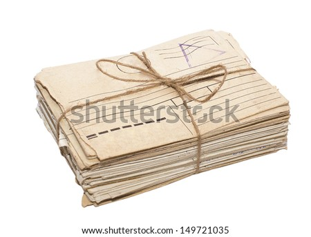 a bunch of old letters. isolated on white background - stock photo