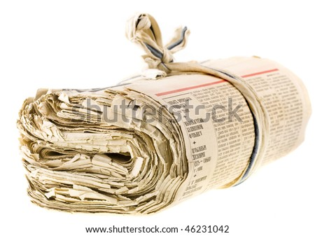 a bunch of old newspapers  isolated on white background - stock photo
