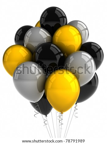A bunch of party balloons over white background - stock photo