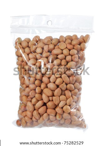 a bunch of peanuts in plastic bag - stock photo