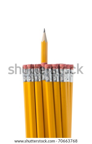 A Bunch of pencils isolated on white in the studio - stock photo