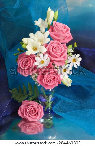 A bunch of pink roses - stock photo