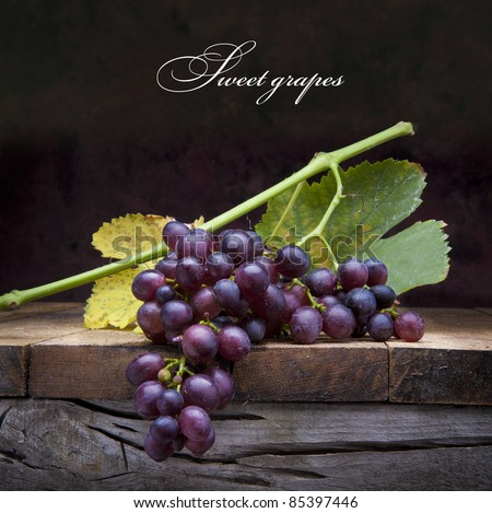 A bunch of purple grapes with leaves lying on a wooden background - stock photo