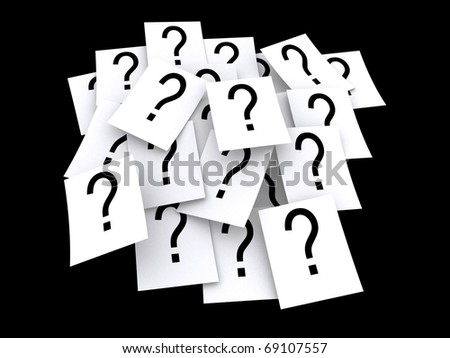 A bunch of question marks on paper - stock photo