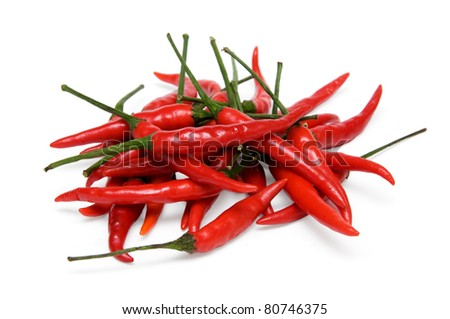 a bunch of red chili peppers isolated on a white background - stock photo