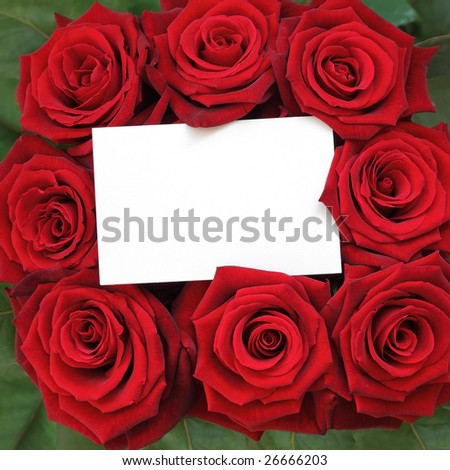 A bunch of roses with a blank card for congratulations.
