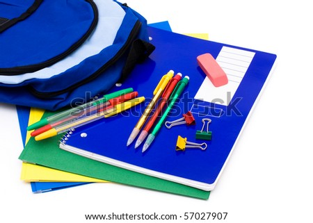A bunch of school supplies with pens and pencils, back to school - stock photo