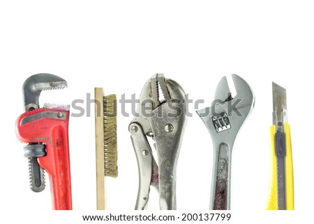 A bunch of used isolated tools isolated on white background.  - stock photo