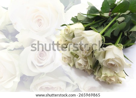 A bunch of  white roses best for wedding use