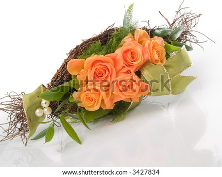 A bunch with orange roses - stock photo