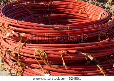 A bundle of electrical cable at a residential home construction site.