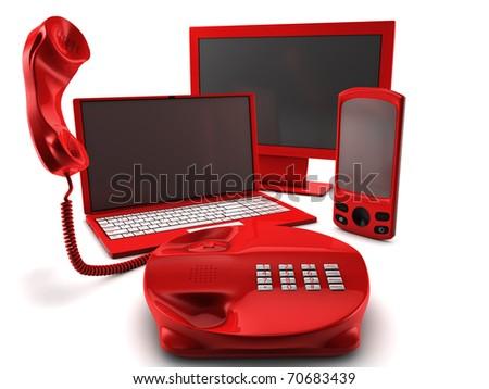 A bundle of four main telecommunication services - stock photo