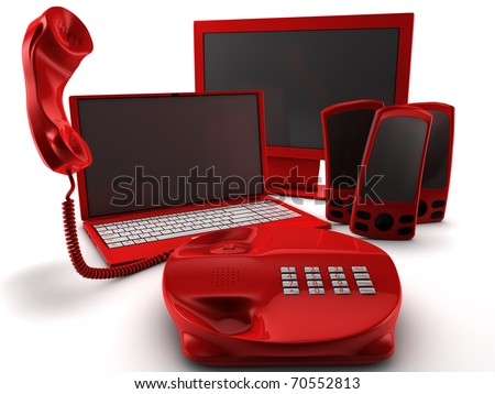 A bundle of four main telecommunication services isolated on white - stock photo