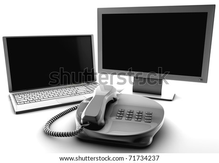 A bundle of net tv and fix phone isolated on white - stock photo