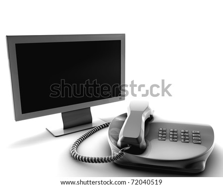 A bundle of telco services isolated on white - stock photo