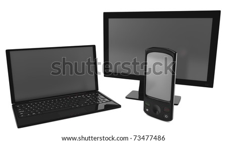 A bundle of telco services isolated on white. - stock photo