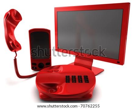 A bundle of three main telecommunication services - stock photo