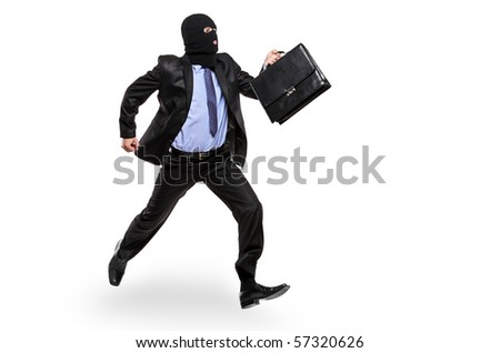 A burglar with robbery mask running away isolated on white background