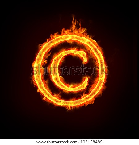 a burning copyright notice sign with flame, for concepts. - stock photo