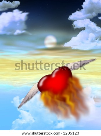 A burning heart flys off alone into the twilight - stock photo
