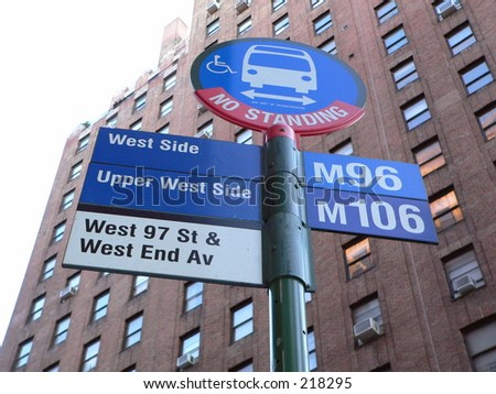 A bus stop sign on the Upper West Side of Manhattan, New York City.