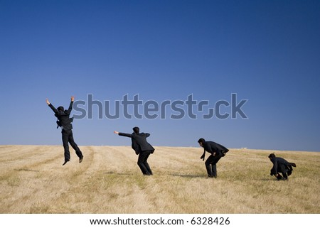 a business and his jump evolution - stock photo
