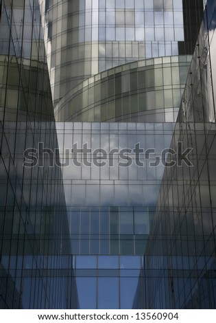 a business complex, blue buildings with geometrical forms, a world trade center - stock photo