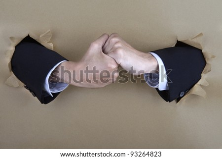 A business hand shake deal - stock photo