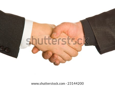 A business handshake. Isolated on white background