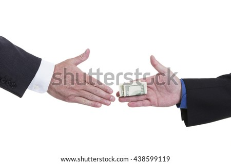 A business handshake with money being exchanged on a white background