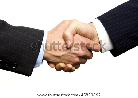 A Business Handshake with White Background - stock photo