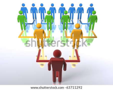 A business hierarchy structure - bottom to top - stock photo