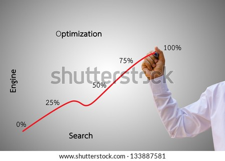 A business man, business charts, seo. - stock photo
