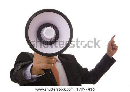 A business man giving an order with a megaphone