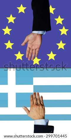 A business man help greece hand - stock photo