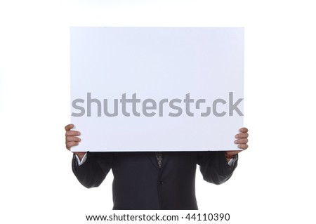 a business man hold board at the white background